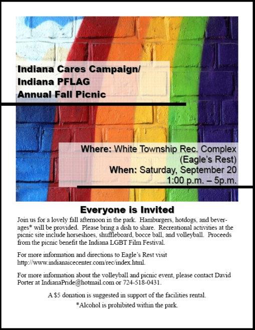 ICC/PFLAG Fall Picnic! All are welcomed!